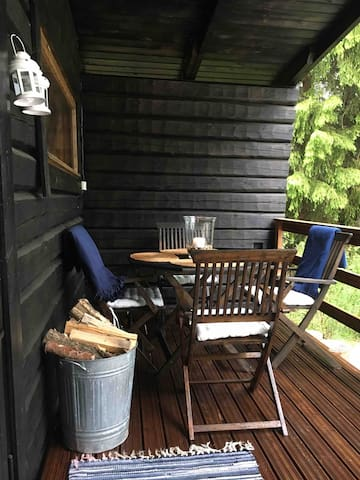 The sitting area in the sauna terrace!