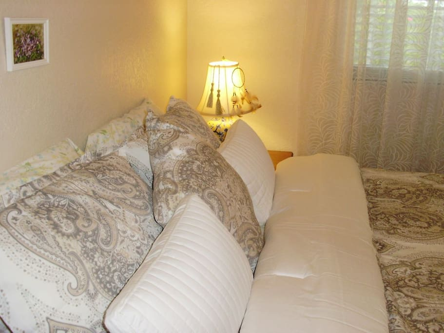 Queen size comfortable bed with bed linen included