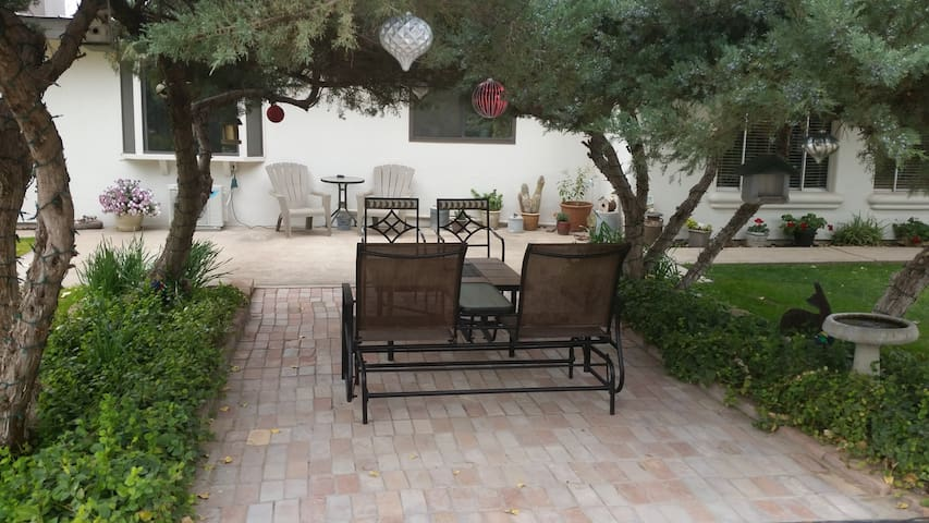 Outside seating in front of house