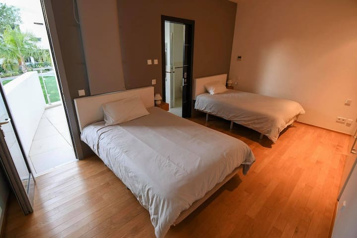 Second bedroom with 2 double beds& terrace
