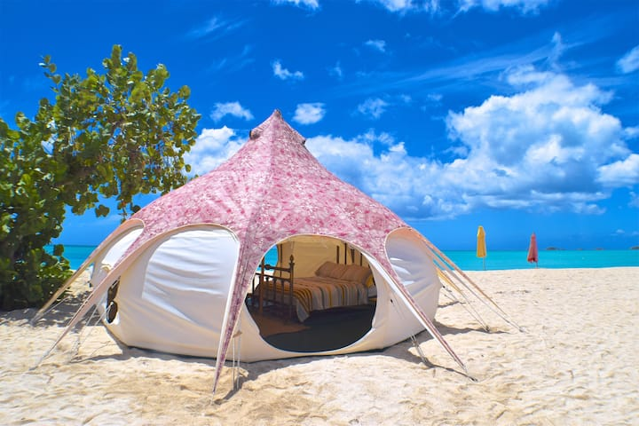 A romantic glamping escape right on the beach...
