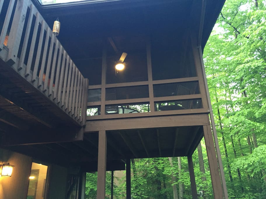 Outside view of screened in porch.