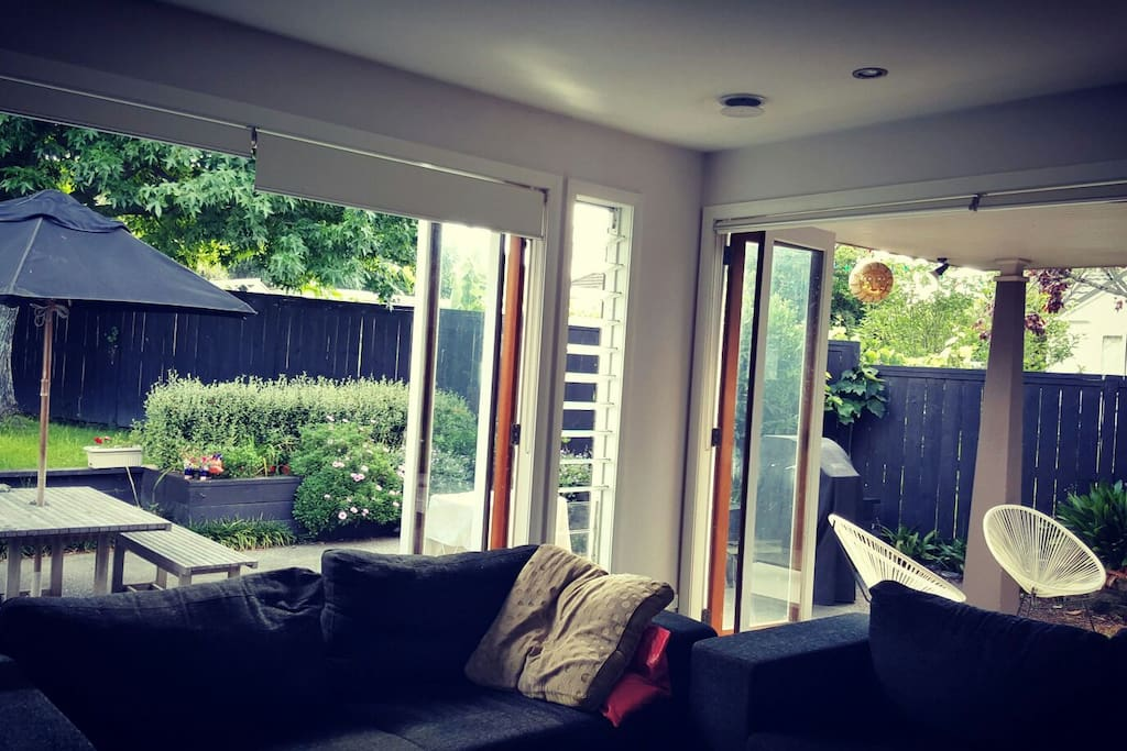 Living space opens out onto patio