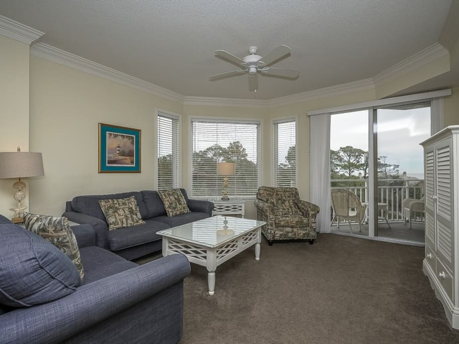 Living Room with Balcony Access at 2401 Sea Crest