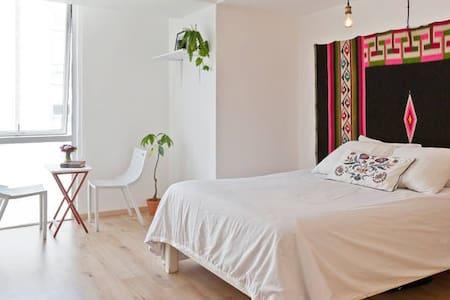 Sunny double room Roma Norte w/Private BR & GYM. - 멕시코시티(Ciudad de México) - 아파트