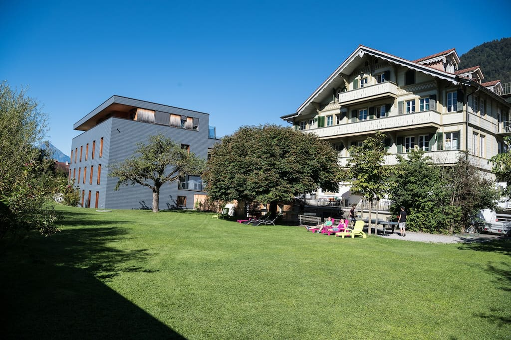 Enjoy our large garden with an amazing view of the snow capped Jungfrau mountain