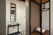 Hanging space and shower