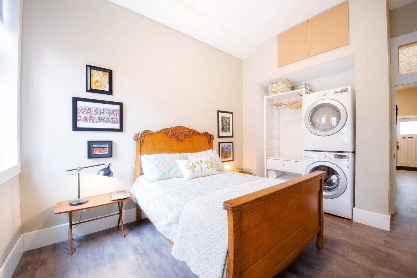 Brand new, Full size, private, washer & dryer inside the unit - space to hang clothes. New mattress, blackout blinds, bedside lamps, device charger - we've tried to think of everything to make your stay as comfortable as possible.
