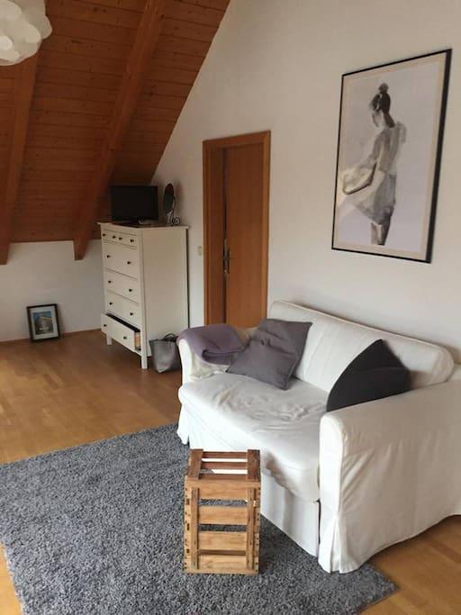 Wohnzimmer mit Schlafsofa und Blick auf Balkon
