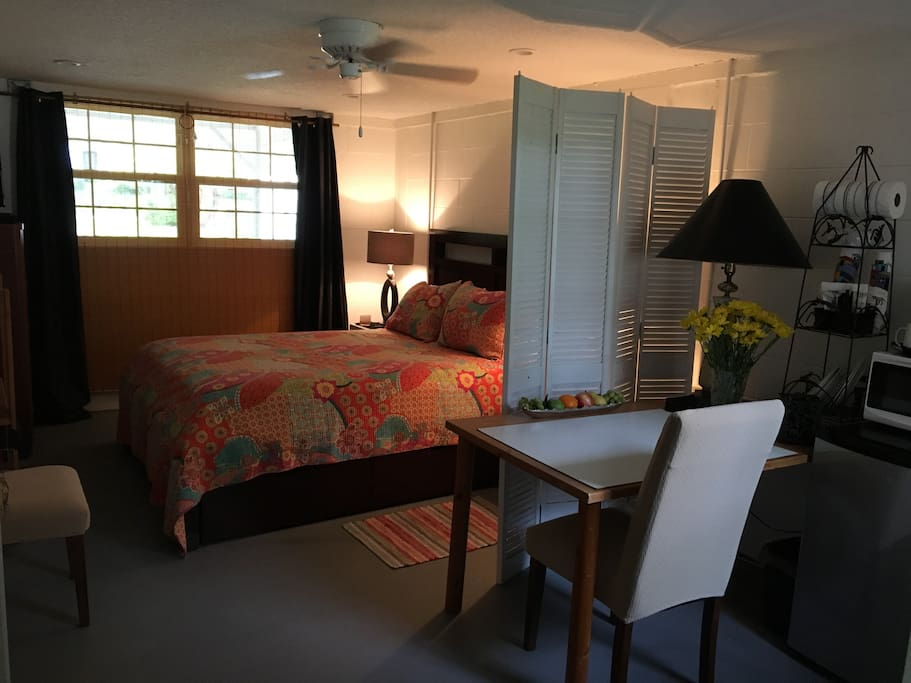 Large quiet studio with your own private entrance, eating/work space, and new private bathroom.