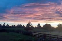 View of sunset from veranda