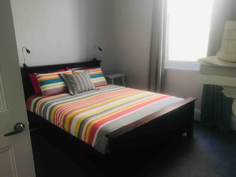 Great queen bed & super comfortable! Privacy of course, and Your room includes TV, large built in cupboard, heater, linen and towels.