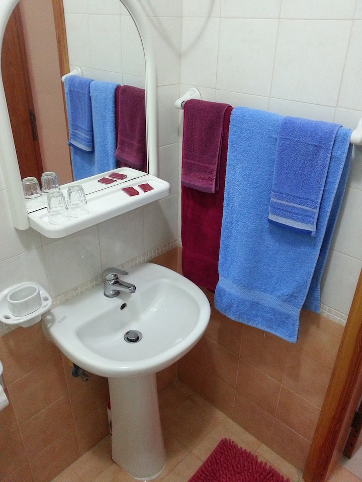 Double Budget Room (No balcony and smaller private ensuite shower room). Space to add an additional folding bed
