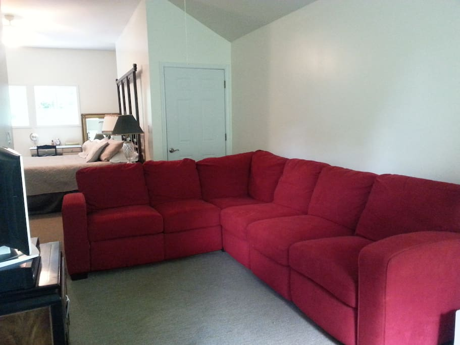 Apartment sectional sofa wth recliners on each end. Could be extra sleeping spot.