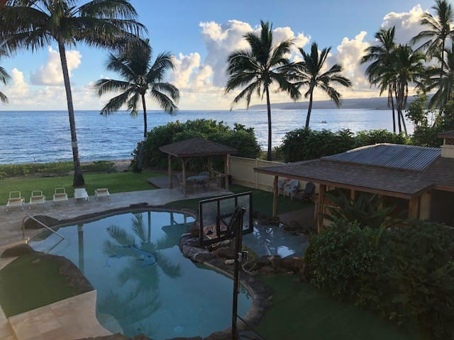 View of the pool, Tiki Bar and ocean from the Master Bedroom Lanai