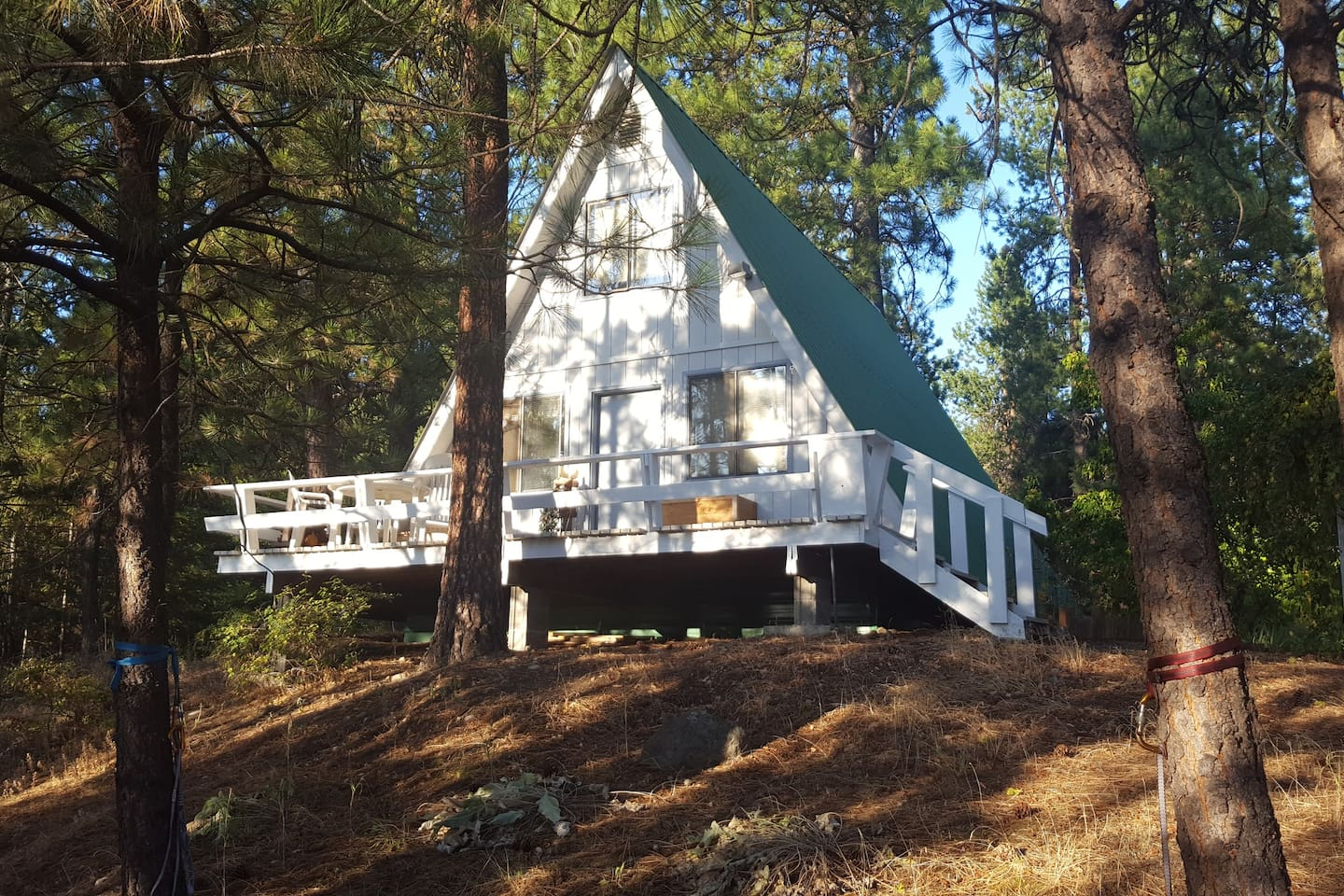 A-Frame guest cabin near Lake Roosevelt and Colville National Forest on 20 acres of private forest. Local activities include biking, hiking, kayaking, fishing, hunting, and skiing.