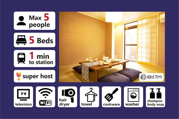 [EN]⭐Downtown House 1 Min to Shijo Stn 5 Guests⭐