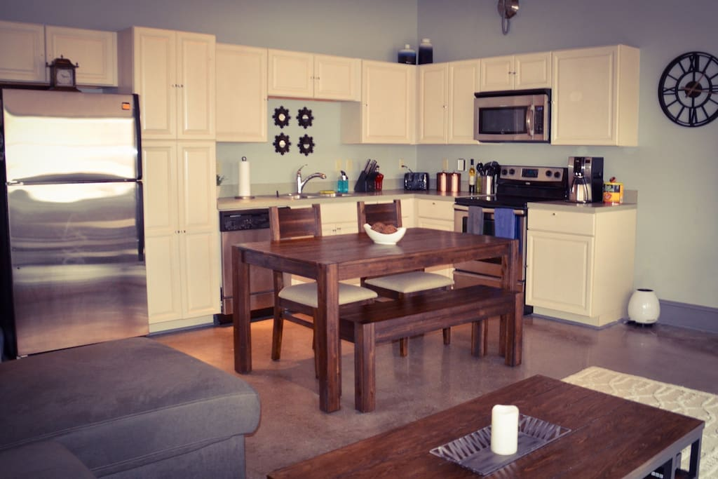Beautiful kitchen, fully stocked. Coffee maker along with grounds are available for guest to use whenever they please.