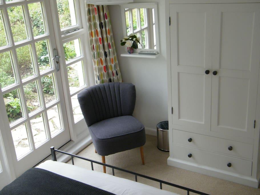 Room three has a door to the garden.