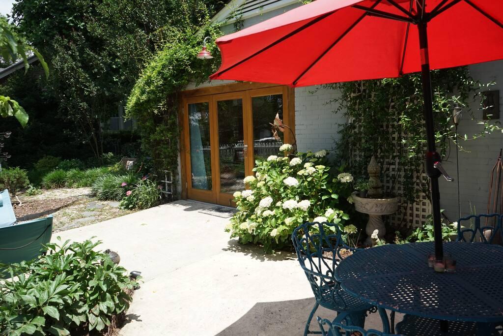 Private patio with quaint garden.