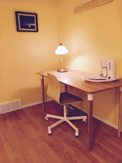 Each bedroom is equipped with a desk, and personal coffeemaker with complimentary coffee for guest use.