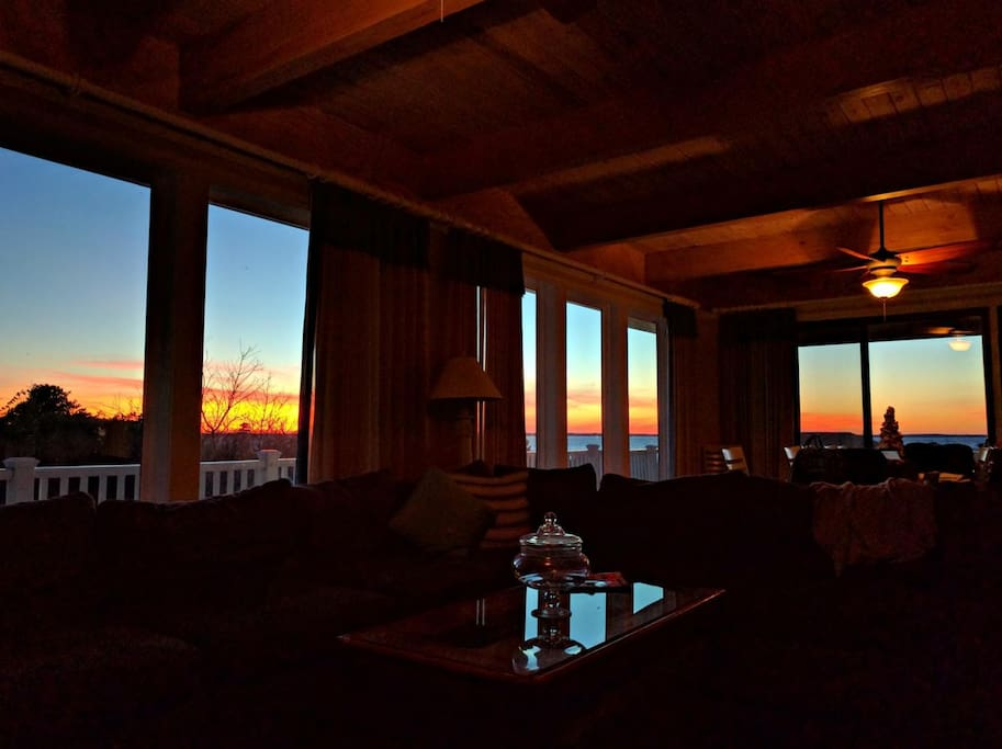 Sunset View from Panoramic Windows in Living Room