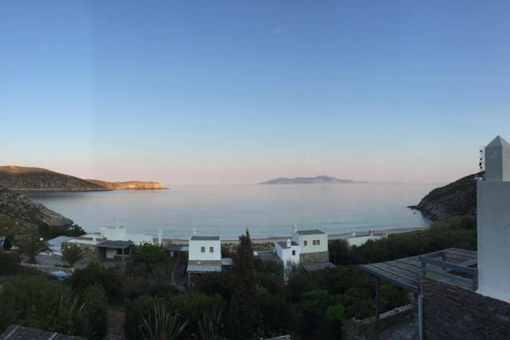 Panorama of Karavi beach(which is just 50m from the house).