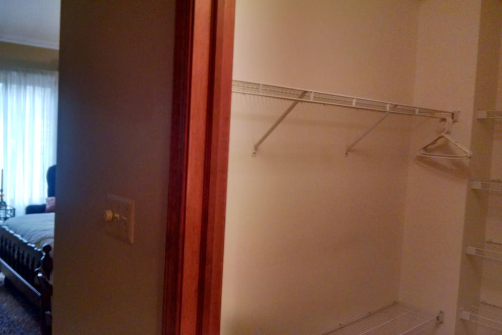 Partial view of walk-in closet in Master suite