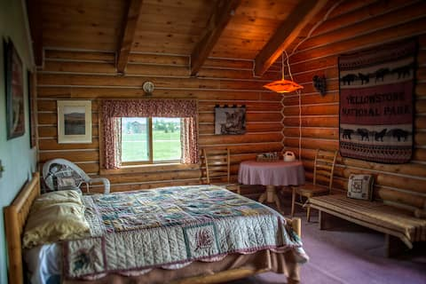 Spacious bedroom w/ private bath in log home