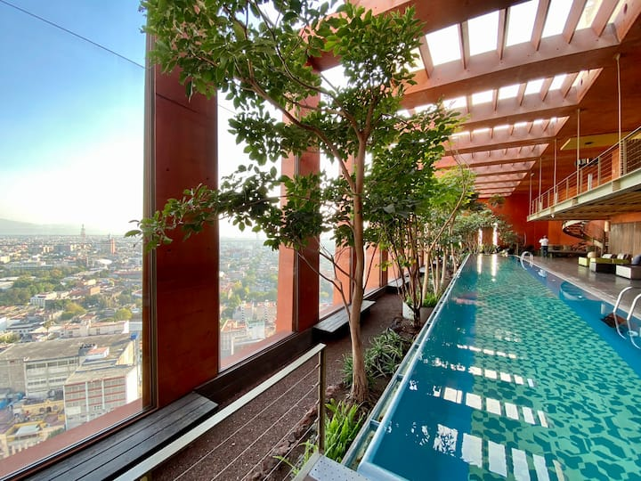 Lovely loft on Reforma, 15th floor, Pool and gym