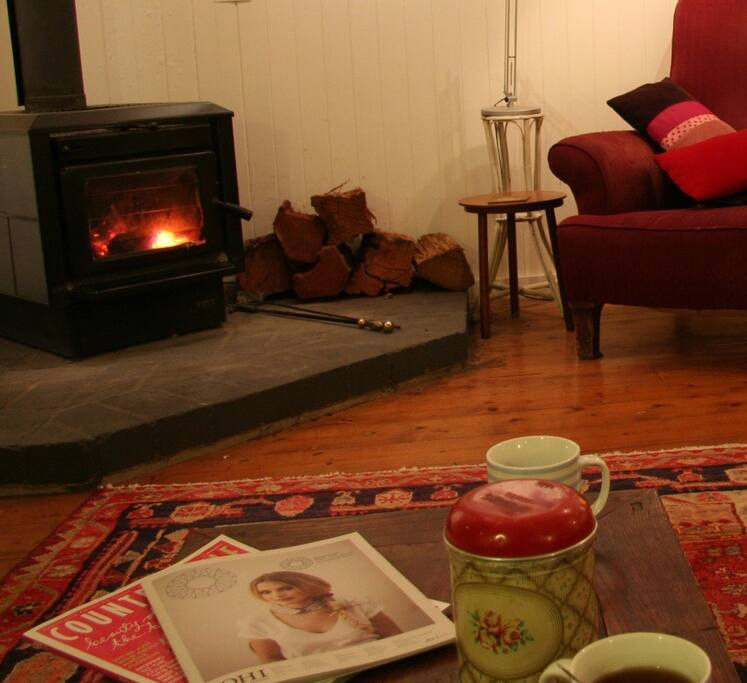 We light a real woodfire in the winter months for guests to get cosy.