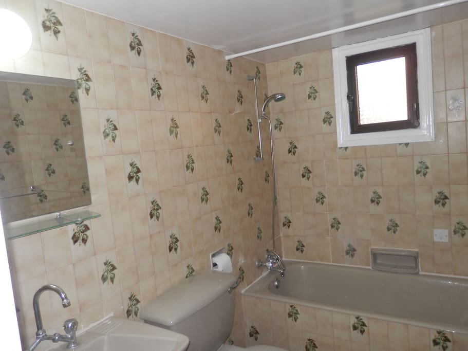 Bathroom: The bathroom includes a full size bathtub!