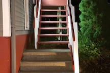 Well Lit Motion solar lighted stairs at night