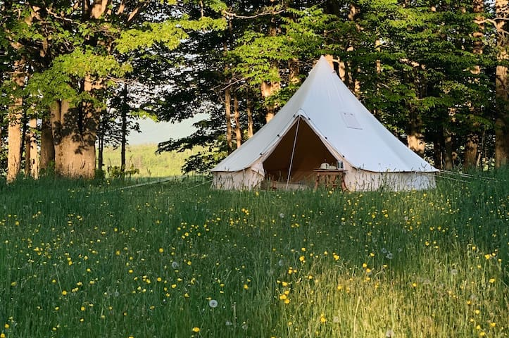 Bell Tent with Burke Mountain Views