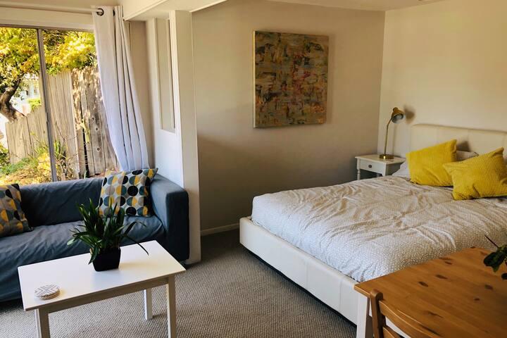 Modern, sunny studio in prime Oakland location