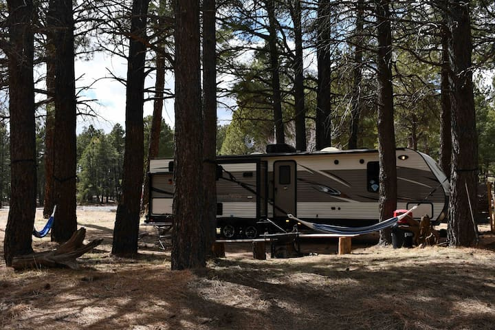 Cozy, fully equipped, getaway in the pines!!