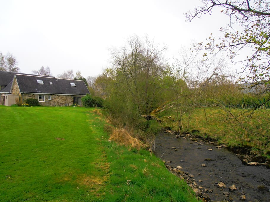 View of Camserney Burn and the rear of the cottage