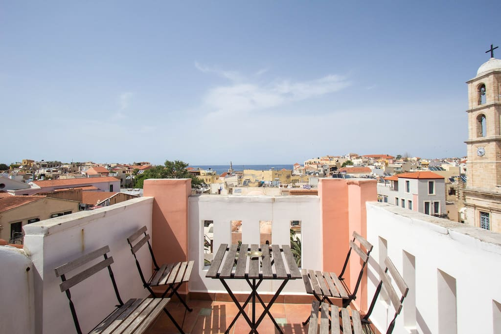 Top floor hotel suite attic located at the most central location of the old harbour of Chania offering breathtaking view day and night!