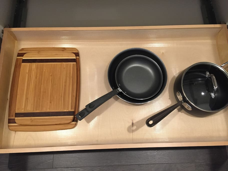 Bamboo cutting boards and All-Clad pot