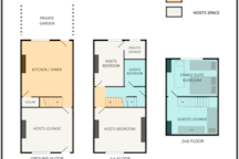 Family suite layout & house areas (comfortably sleeps 1-4, possibly 5 guests)