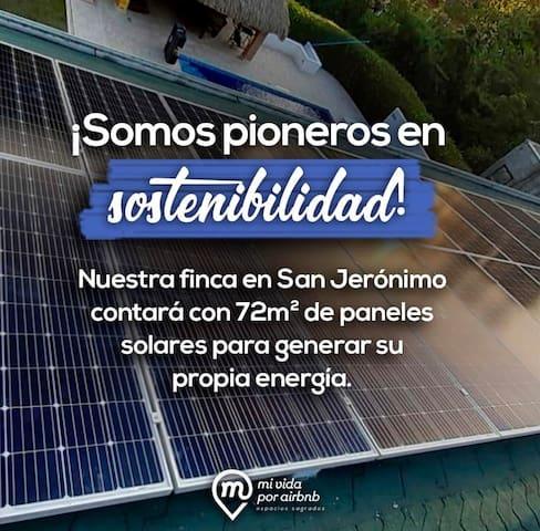 Paneles  Solares  - Generamos nuestra propia energia - dejaremos de emitir en 25 años 455MWh de energia. - así que Nuestro sistema dejará de emitir 162 Ton CO2. - asi aportamos al cambio climatico desde nuestra propiedad