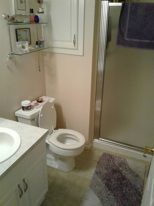 3/4 bathroom for guests  with shower.