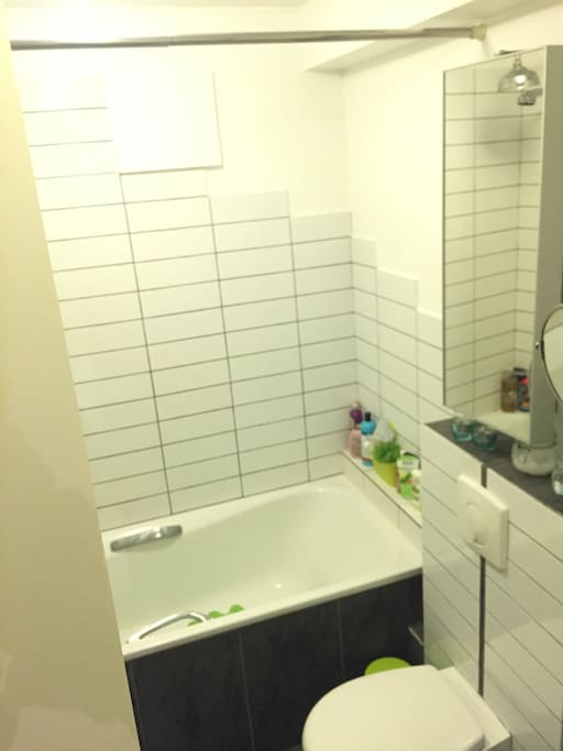 Newly renovated bathroom with tub, shower and washer