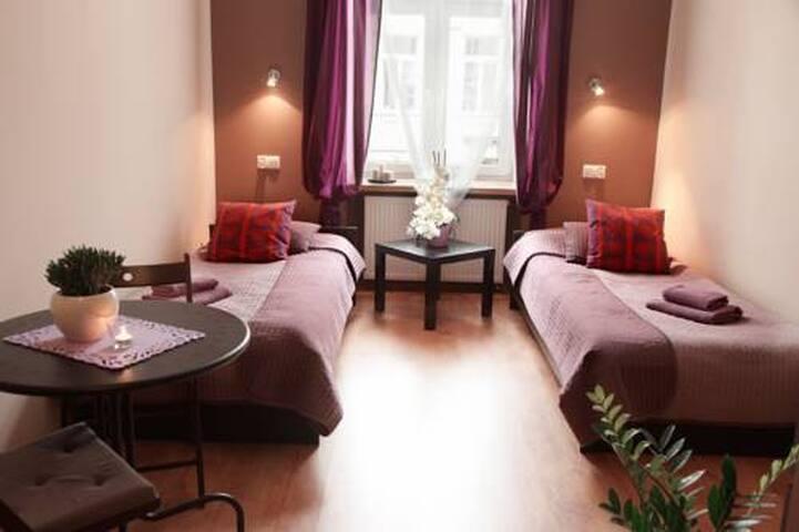 Pokój 2 łóżka ze śniadaniem na Piotrkowskiej