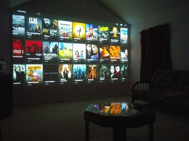 Relax and watch a movie in our movie room