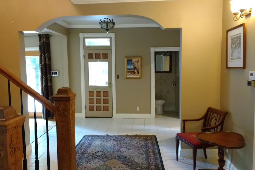 Looking in from Front Door facing powder room and dog room