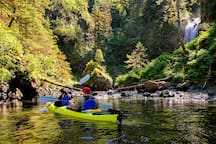 One of our premier kayaking destinations: a huge natural waterfall where salmon spawn in late summer.