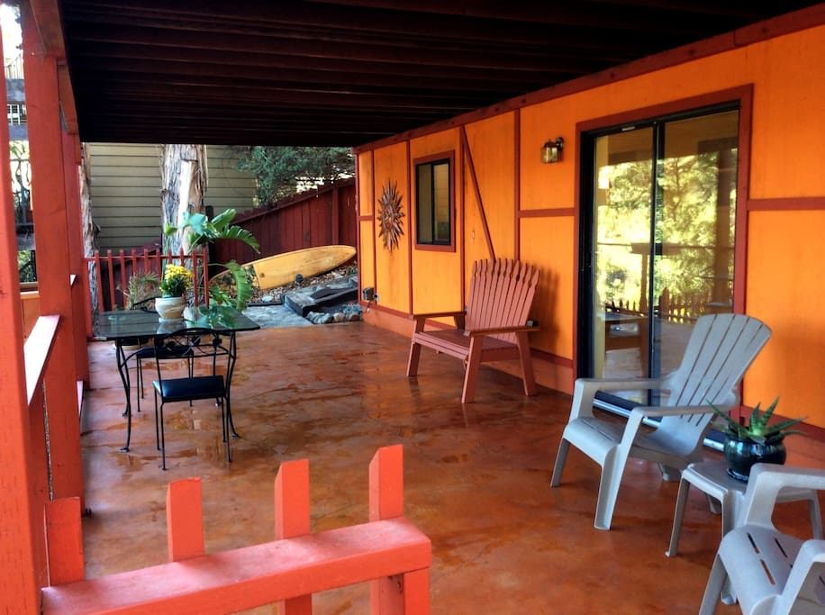 Large private Patio with lots of places to relax and enjoy the view