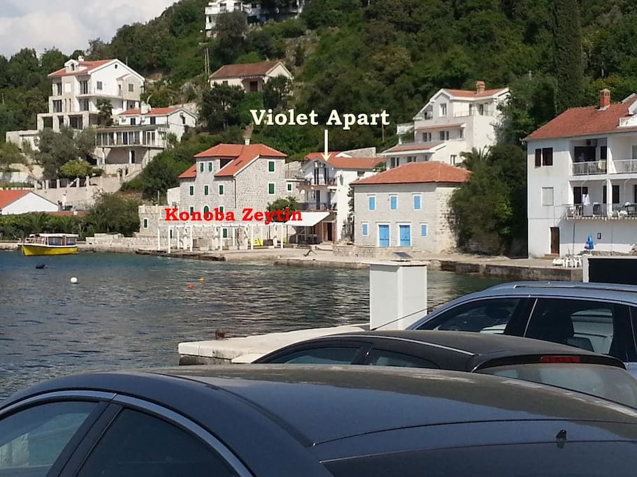 Distance view of Konoba Zeytin Restaurant & Violet Apart Building