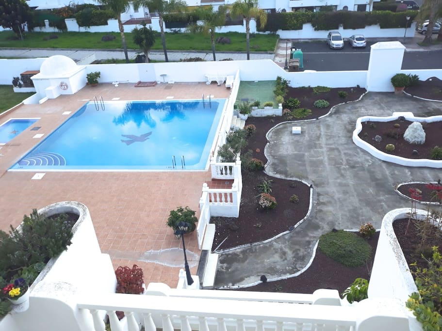 View from the terrace on the swimming pool